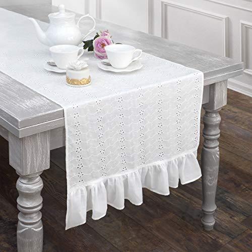 AT17 Tischläufer, Tischdecke, Deckchen Läufer Bestickt Landhaus Shabby Chic - Rüsche Volant/Sangallo Spitze - 50x150 - Weiß - 100% Baumwolle -