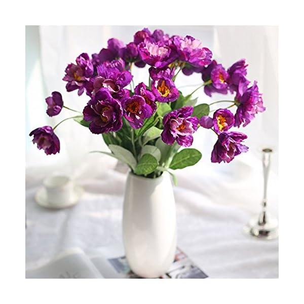 DDG EDMMS – Flores Artificiales para Interior y Exterior, diseño de Amapolas Artificiales, Color Morado Oscuro