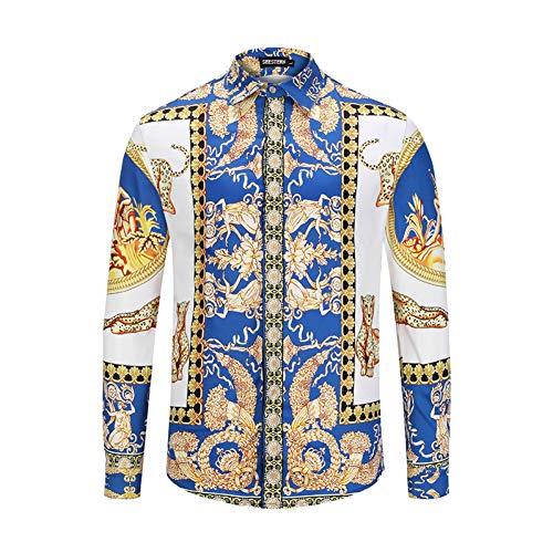 CHENS Langarm/Slim fit/Strand/L Kleidung Herrenhemd Druck Leopard griechischen Gott Charakter Mode westlichen Jugend Mann Shirt Freizeit Baumwolle Tops (Männer Griechische Für Kleidung)