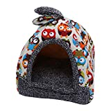 #7: POPETPOP Removable and Washable Pet Tent Bed, Warm Pet Dog Cat Bed House, Cosy Winter Snuggle Bed Cushions for Puppy Kitten Rabbit Small Pets - Size S (Owl)