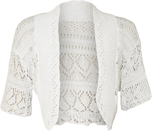 Die Fashion City® Damen Bolero Bauchfreies Top Short Sleeve Crochet Strick Offene Damen Strickjacke Top Plus Größen 8-22 Gr. 34-36, weiß
