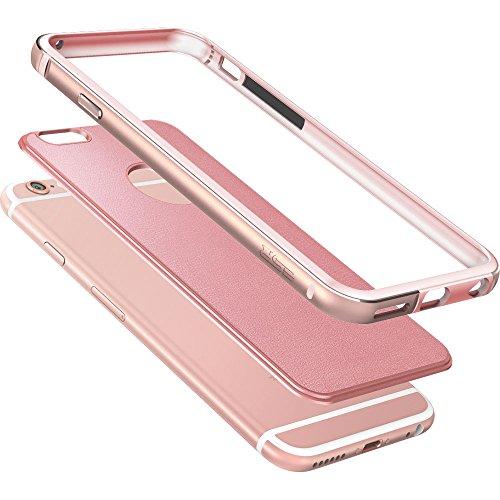 iPhone 6 / 6S Hülle (4,7 Zoll), ESR® Hybrid Schutzhülle mit HD Schutzfolie, Metallrahmen mit Silikon Bumper + Hart PC Zurück mit PU Leder, Stoßdämpfung Hülle für iPhone 6/6S- Rosa Rahmen, Rosa Rosa 2