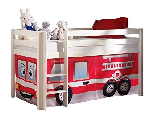 Vipack PICOHSZG1470 Spielbett Pino mit Textilset Feuerwehr, Maße 210 x 114 x 106 cm, Liegefläche 90 x 200 cm, Kiefer massiv weiß lackiert