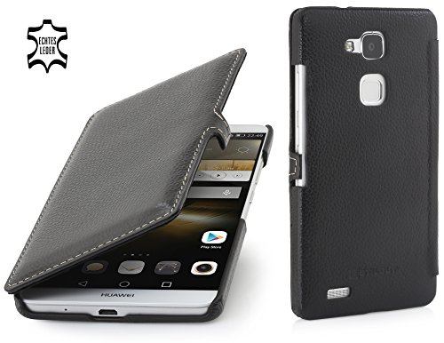 StilGut Book Type Case con clip, custodia in vera pelle a libro per Huawei Ascend Mate 7, nero