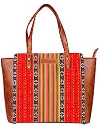 Kalamargam Collective Handwoven Tripura Weave & Vegan Leather Women's Tote Bag (Multi-Coloured, KC-TB74)
