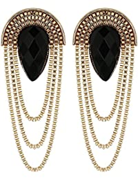 Shining Diva Fashion Black Gold Stylish Fancy Party Wear Earrings For Women & Girls