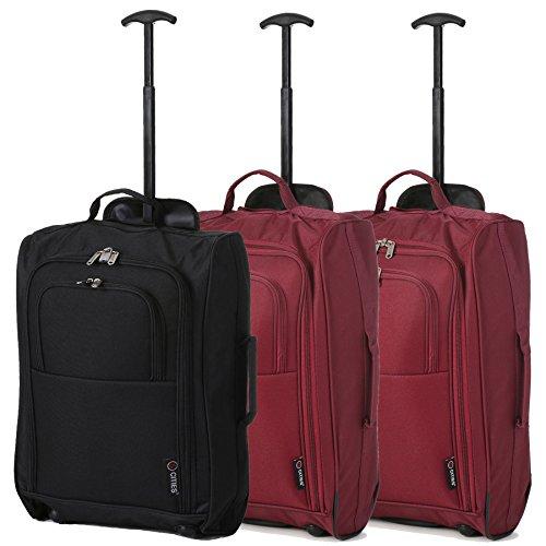 Lot de 3 Super léger de voyage bagages Cabine Valise Wheely Sacs Sac à Roulettes (Noir / 2 x du vin)