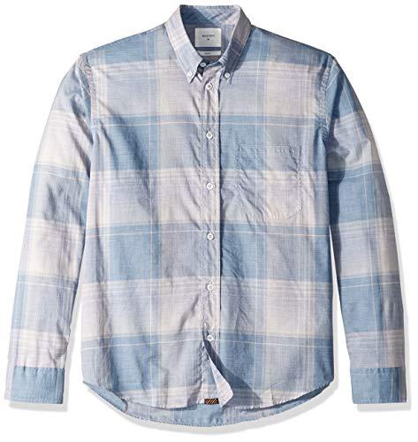 Light Blue Plaid Shirts (Billy Reid Herren Standard Fit Tuscumbia Shirt Button Down Hemd, Light Blue/White Plaid, Klein)