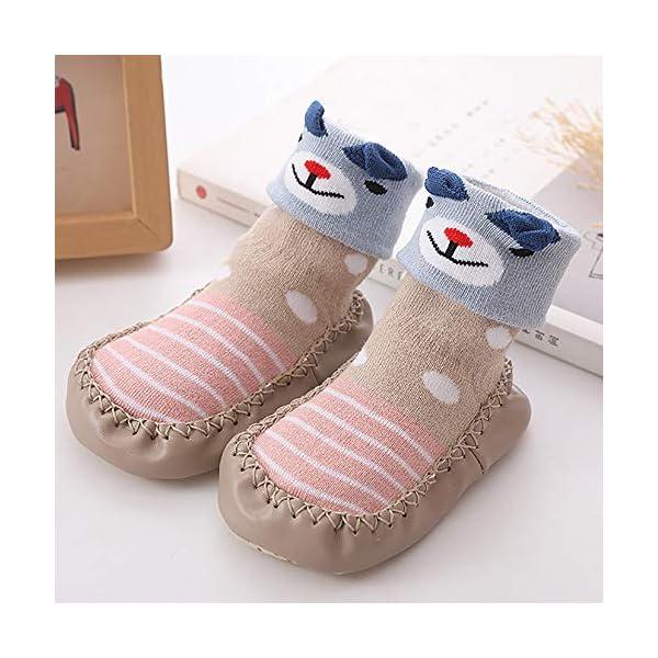MAYOGO Niños Calcetines Antideslizantes con Suela de Goma Anti-slip Zapatos de Primer Paso para Bebés Zapatillas de Casa… 5