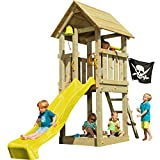 Blue Rabbit 2.0 Spielturm KIOSK mit Rutsche Kletterturm Glocke Sandkasten Lenkrad Piratenflagge Teleskop und Holzdach (Podesthöhe 1,50 m, Rutsche GELB)