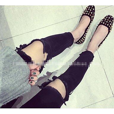 Confortevole ed elegante piatto scarpe donna tacchi altri Esterno in similpelle nero grigio verde Borgogna Black