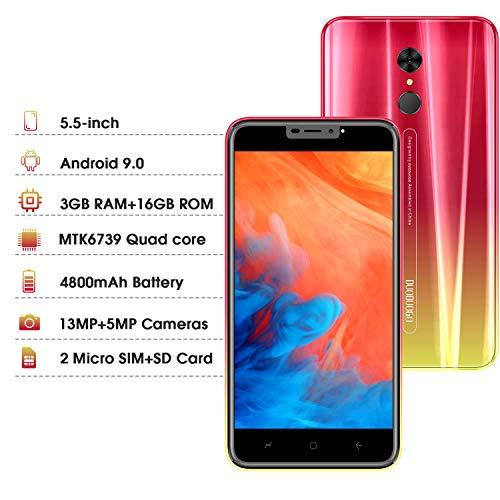 4G Smartphone Pas Cher 5,5 Pouces HD Android 9.0 3Go RAM 16Go ROM/Extensible à 128Go 4800mAh Double Caméra Face ID d'empreinte Digitale Téléphone Portable Pas Cher sans Forfait DUODUOGO G55 (Rouge)