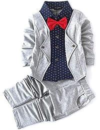Si Noir Boy's Cotton Blazer Style Navy Shirt and Pant Set Gray