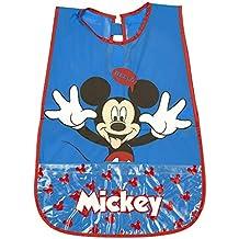 Delantal Infantil Disney Mickey Mouse - Bata Escolar Impermeable para Niño con Bolsillo delantero con el