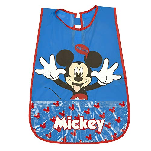 Grembiule bambini mickey mouse - coprigrembiule topolino bimbi impermeabile in pvc con tasca frontale - camice ideale per proteggere i vestiti da macchie e pittura - blu e rosso - 3/5 anni - perletti