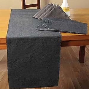 Homescapes Chemin de table de LUXE (45 x 180cm). Pur coton ULTRA DOUX. Couleur NOIR