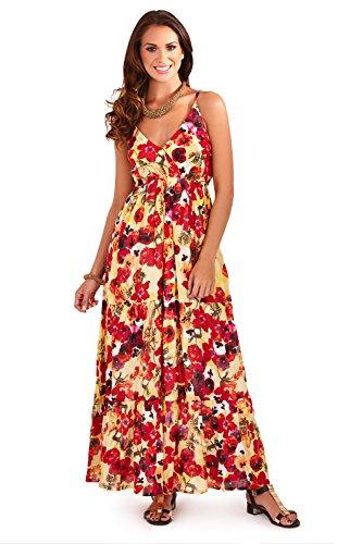 Pistachio Femmes Bretelles Floral Imprimé Coquelicot Robes Longues Rouge - Coquelicot