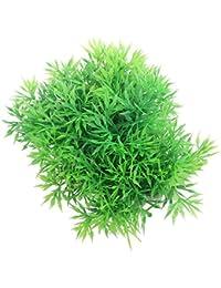 Planta de césped verde de plástico artificial para acuario pecera adorno