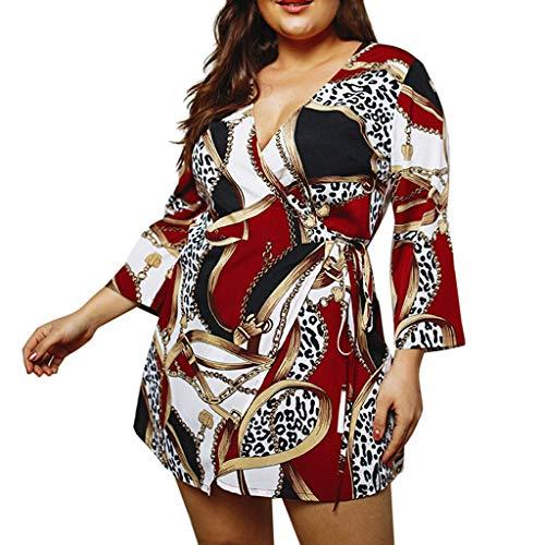 LOPILY Sommerkleider Damen Blumendruck Plus Size Tshirt Kleid Bluse Sommer Floral Print Bequem Freizeit Minikleid mit Gürtel Übergröße Riemchen Strandkleid Partykleid(X1-Weinrot,EU-52/CN-XL) (Size Halloween Plus Krankenschwester-outfit)