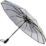 COLLAR AND CUFFS LONDON - Raro 80 km/h 12 Varillas - A Prueba DE Viento - Fuerte - Apertura y Cierre Automático - Paraguas Compacto Plegable - Transparente