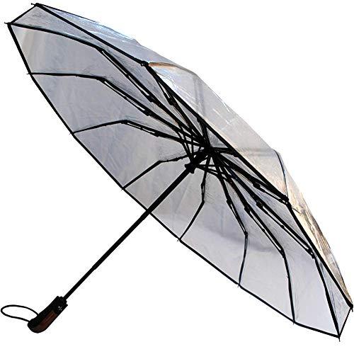 Collar and cuffs london - raro 12 bacchette 80 km/h - robusto e antivento - struttura rinforzata con fibra di vetro - ombrello pieghevole - automatico apri e chiudi- viaggio - trasparente - chiaro
