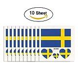 joseche National Flagge Tattoo 10 modische temporäre Tattoos [enthalten iClean Tücher] Umweltfreundlich Wasserdicht Tattoo Aufkleber für 2018 World Cup, Fußball Soccer Fans Sport Spiel., Schweden