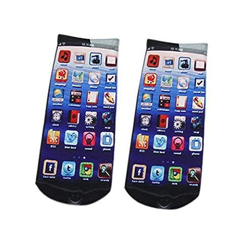 Chaussettes/socquettes fantaisie unisexes avec impression 3D - - taille unique