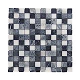 Mosaikfliesen Naturstein 30 x 30cm 1 Stück I Vezzo Ceramica I Serie 20013, Rutschhemmend, Schwarz/Weiss
