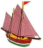 1 Stück _ Segelschiff Schiff - ' braun / grün ' - Boot aus Holz - Miniatur Fregatte - Diorama - z.B. für Puppenstube Küche - Maßstab 1:12 Puppenhaus / Segelboot / Fischerboot _ Yacht - Schiffsreise / Schifffahrt Kreuzfahrt - Schiffe 2 Master