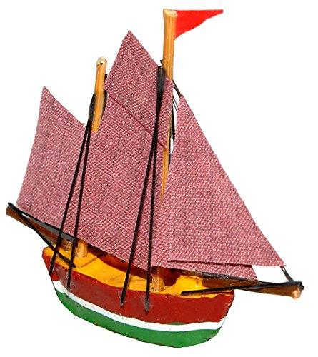 """Preisvergleich Produktbild 1 Stück _ Segelschiff Schiff - """" braun / grün """" - Boot aus Holz - Miniatur Fregatte - Diorama - z.B. für Puppenstube Küche - Maßstab 1:12 Puppenhaus / Segelboot / Fischerboot _ Yacht - Schiffsreise / Schifffahrt Kreuzfahrt - Schiffe 2 Master"""