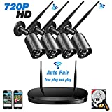 Kit Cámaras de Vigilancia WiFi Exterior 720P, Sistema de Alarmas Casa Inalámbrica, Videovigilancia de Seguridad IP Interior con 4CH NVR Visión Nocturna IP66 Impermeable Detector de Movimiento 1TB HDD para iOS Android PC (Negro) - Topgio