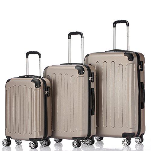 Zwillingsrollen 3 tlg.2045 neu Reisekofferset Koffer Kofferset Trolleys Hartschale in 12 Farben (Champagner)