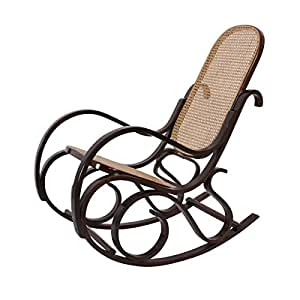 Sedia a dondolo M41 legno 84x54x96cm ~ noce seduta rattan