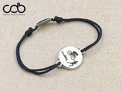"""Bracelet réglable cordon tressé""""Triathlon"""" ø16mm étain finition argent 925"""