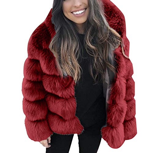ntel - Pelzmantel Fellmantel Faux Fur Kunstpelz Mantel Kunstfell Jacke mit Kapuzen Damen Wintermantel Winterjacke Elegant Wollmantel Fleecemantel Fleecejacke ()
