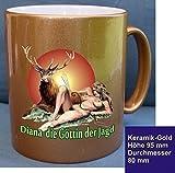 Tasse Kaffee gold Diana Göttin der Jagd