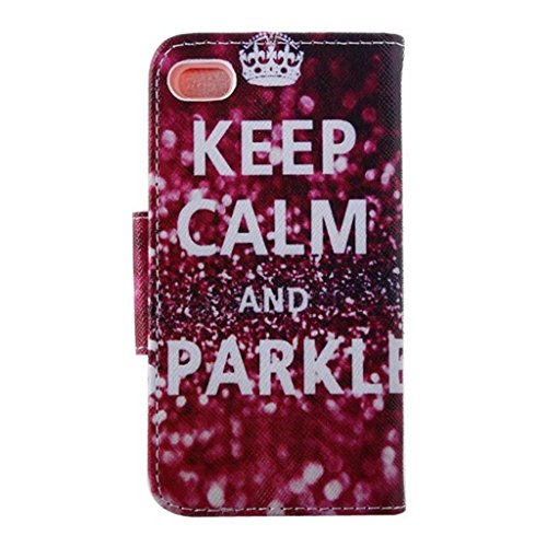 Gift_Source iPhone 5S hülle, iPhone 5 hülle, Brieftasche Ledertasche Bookstyle Schutzhülle Leder Flip case Etui for Apple iPhone 5/5S [ big ben ] E01-01-Keep Calm and Sparkle