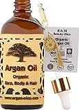 R&M Beauty-Oleo - Olio di Argan biologico pressato a freddo - Olio dal Marocco per capelli, viso, unghie e labbra, cicatrici e brufoli. Commercio equo e solidale - Flacone con contagocce (100 ml)