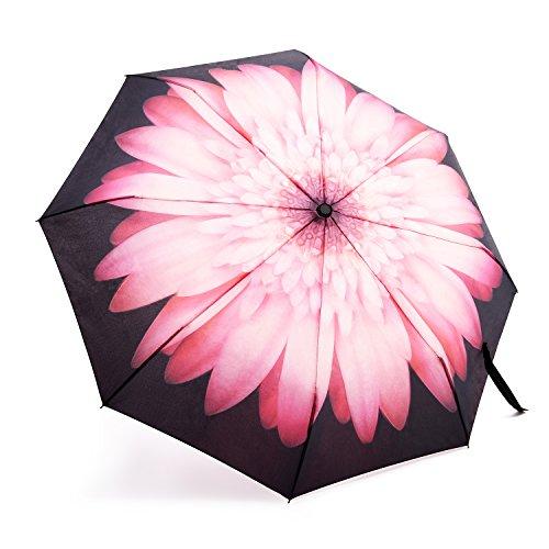 Regenschirm, OakLeaf taschenschirm auf zu automatik, sturmsicher wasserabweisende, Mini, Leicht & Kompakt, Pink Blumen Damenschirm