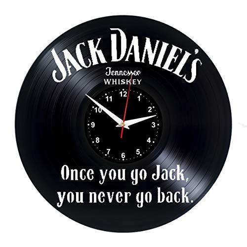EVEVO Jack Daniels Wanduhr Vinyl Schallplatte Retro-Uhr groß Uhren Style Raum Home Dekorationen Tolles Geschenk Wanduhr Jack Daniel's Uhr Jack