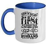 Mug avec inscription « This Girl Loves Her Husband », mignonne tasse à café de mariage, I'm Too Late To Be His First Accent », idée cadeau unique pour femme Mug 11 Oz Accent Mug - Blue...