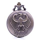 antico vintage Steampunk stemma della Germania–Orologio da polso analogico analogico ciondolo collana lunga catena da uomo donna bronzo