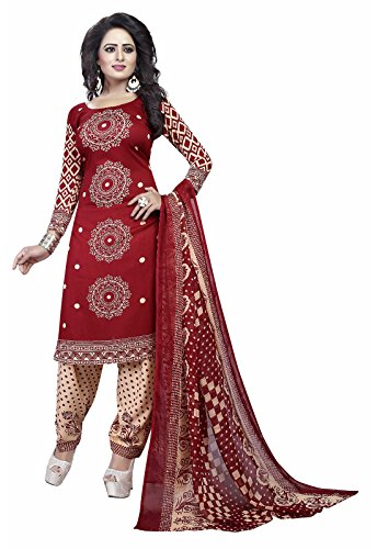 Ishin Synthetic Red Party Wear Wedding Wear Casual Daily wear Festive Wear Bollwood New Collection Printed Latest Design Trendy Unstitched Salwar Suit Dress Material (Anarkali/Patiyala) With Dupatta