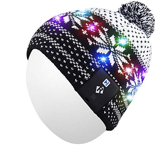 Qshell LED String Lichte Beanie Hut Strickmütze mit Kupferdraht Bunte Lichter 4 Füße 18 LEDs für Männer Frauen Innen und Outdoor, Festival, Feiertag, Feier, Parteien, Bar, Schwarz