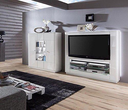 Wohnwand 'Quadra 3' Hochglanz lackiert Weiß Vormontiert Mediawand