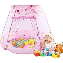 Parque de Bolas Infantil Niñas Princesa Bebe, SKL Piscina de Bolas Niña Para Casa / Al Aire Libre Armable Plegable Portátil (Rosa 120*90*60cm Sin