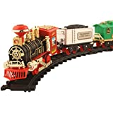 Toyshine Vintage Train with Big Track and Real Smoke Battery Operated with Flashlight (Multicolour)