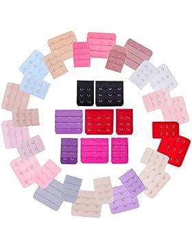 Senkary 40 Piezas de Extensores de Sujetador Correa de Sortén Gancho, 3 Filas 2 Ganchos 3 Ganchos, 20 Colores