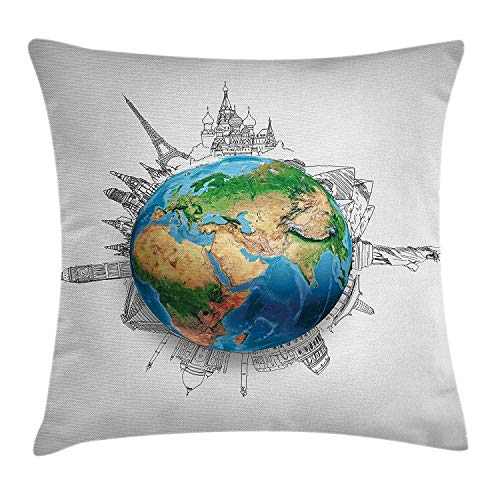 Xukmefat Earth Globe of Planet Earth Realistic Continents Geography Theme Pencil Sketch Blue Green Light Brown