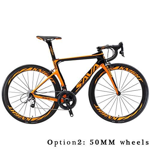 SAVADECK Phantom3.0 Carbon Rennrad 700C Kohlefaser Rennräder Fahrrad mit Shimano Ultegra 8000 22 Speed Schaltgruppe Michelin 700C*25C Reifen und Fizik Sattel (Schwarz Orange, 56cm-(50mm Räder))